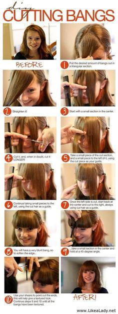 32 ideas for how to cut bangs tutorial ideas Cool Haircuts, Hairstyles With Bangs, Diy Hairstyles, Popular Haircuts, Bangs Tutorial, How To Cut Bangs, How To Cut Fringe, Diy Haircut, Great Hair