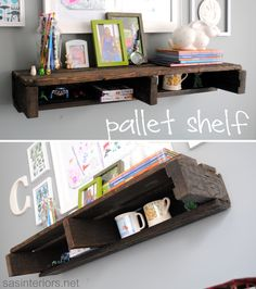I like the rustic look of these pallet shelves