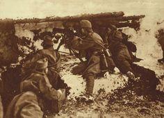WWI; An Austrian machine-gun nest on the Eastern Front.