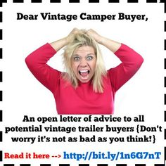 """{Feel free to """"Pin"""" the above or share it on Facebook} Dear Potential Vintage Trailer Buyer, I received your list of 50+ questions about my vintage trailer that I have for sale. (See bo…"""