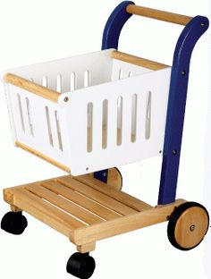 Wooden Toy Shopping Trolley