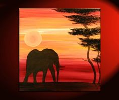 Elephant Painting Sunset Silhouette African Acacia by NathalieVan