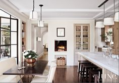White Kitchens - Design Chic Banquet, and some kind of ceiling detail