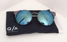 NEW Quay Australia Asha cat eye blue mirror lens black metal frame sunglasses…