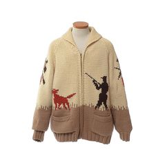 Vintage 70s Cowichan sweater. Hand knit thick, chunky wool knit with design of a hunter, his dog and pheasant game birds. Colors of cream, brown, rust red and beige. Rolled shawl collar. Full zippered front fastener with Coats and Clark metal zipper. Hand pockets on lower front. Jacket has been fully lined which was hand done and bears a personal label - some of the seams of the lining are separated and need re-stitching or you may wish to remove the lining altogether (refer to close-up…