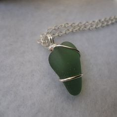 Wire wrapped green sea glass necklace by atreasurefromthesea, $19.99