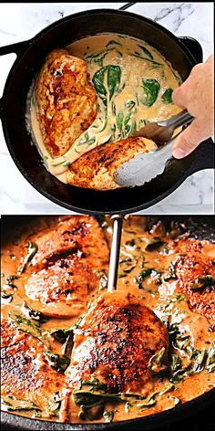 Chicken and Spinach in Creamy Paprika Sauce is a hearty, but easy chicken recipe that the whole family will love! It's amazing in flavor because of dry white wine and sauted garlic. I also love the delicious paprika sauce! Paprika Sauce, Tasty Videos, Food Videos, Recipe Videos, Cooking Videos, Healthy Dinner Recipes, Cooking Recipes, Gourmet Recipes, Cooking Box