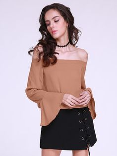 Sexy Women Off Shoulder Long Sleeve Pure Color Blouse