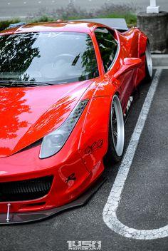 Ferrari 458 Italia, Ferrari 488, Lamborghini, Liberty Walk Cars, Red Sports Car, Car Mods, Amazing Cars, Hot Cars, Exotic Cars