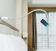 Gooseneck Lazy Device Mount: Hands-free use of your phone or tablet in your bed, at the gym, or while you're driving. Get it HERE: http://www.thegiftsformen.com/gooseneck-lazy-device-mount.php