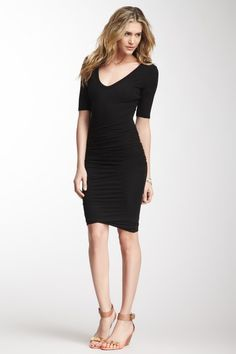 James Perse Deep V-Neck Ruched Dress by Non Specific on @HauteLook