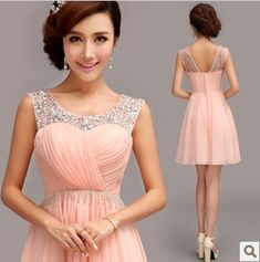 Evening Dress 2014 Fashion Bridal Sexy Wedding Crystal Chiffon Short Pink Party Dresses Sweet Girl Prom Dresses Plus Size(China (Mainland)) Girls Evening Dresses, Evening Dresses For Weddings, Event Dresses, Reception Dresses, Pink Bridesmaid Dresses Short, Homecoming Dresses, Short Dresses, Formal Dresses, Pretty Dresses