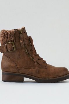 American Eagle Outfitters AE Knit Cuff Lace-Up Bootie Golden Shoes, Mens Outfitters, Shoe Collection, Ankle Booties, Hiking Boots, Combat Boots, American Eagle Outfitters, High Top Sneakers, Espadrilles