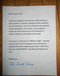 Tooth Fairy letter - messy room