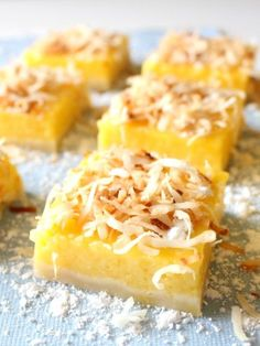Mango Lemon Bars with Toasted Coconut   #mango #lemon #bars #recipe