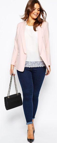 Plus Size Blazer in pale pink, lace trimmed white tee, dark denim, dark bag.