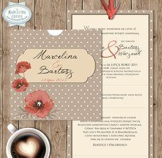 """Zaproszenia Ślubne """"Marcelina – coffee"""" Bardzo modne, ręcznie wykonane zaproszenia w stylu vintage. Zaproszenia drukowane na wysokiej jakości, satynowym papierze w kolorze białym.  /// #sylwianadolska #zaproszeniaslubne #zaproszenianaslub #zaproszenia #slub #wesele #wedding #lawenda #słonecznik #vintage #winietki #papeteria #dodatkislubne #zaproszenia http://www.sylwianadolska.com"""