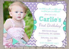 1st Birthday Invitation Purple and Aqua - Girls  / Purple birthday Invite Printable / First birthday / Girls 1st birthday Invitaiton (62) on Etsy, $10.00