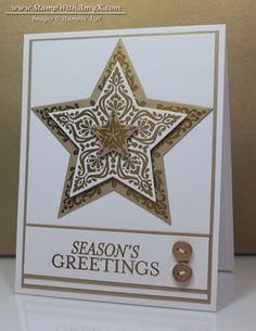 "Stampin' Up! ... handmade Christmas card ... ""Bright & Beautiful"" stamp set + Stars Framelits - Stamp With Amy K ... white and gold ... elegant look ..."