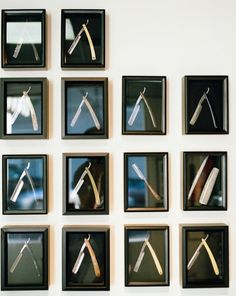 Razors on a wall