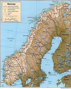 Maps of Scandinavia: Relief Map of Norway With Major Roads
