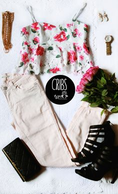 Style, fashion brand, CRIBS ,clothes, crop top, roses.hills