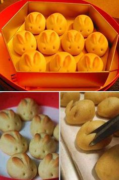 Bunny buns, no way these were done with scissors, tried and they looked like rabid bats. Form ears out of dough prior to rising works better.