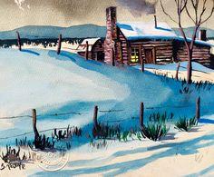 Age17 Lake Tahoe watercolor by Robert Lyn Nelson art. Childhood art  @robertlynnelson.com