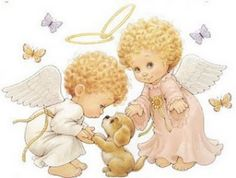Two Cute Little Angels with Puppy Clipart Angel Images, Angel Pictures, Baby Pictures, Angel Cartoon, Puppy Clipart, Fairies Photos, Sarah Kay, Angels In Heaven, Heavenly Angels
