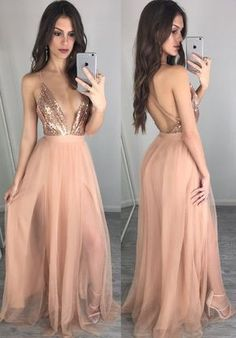 Vestido Long Prom Dresses, Sexy Prom Dresses, Unique v neck sequin long prom dress