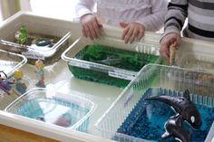 Small World Play…Building our own Aquarium! Work Activities, Creative Activities, Montessori, Mini Aquarium, Aquarium Ideas, Science Area, Zoo Project, Ocean Projects, Sand Play