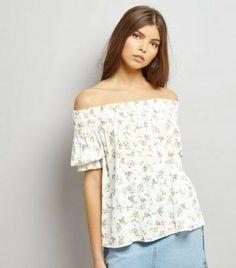 b466e99266 New Look White Floral Print Shirre Top Size UK 10 rrp 17.99 DH181 FF 03 #