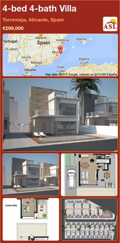 4-bed 4-bath Villa in Torrevieja, Alicante, Spain ►€299,000 #PropertyForSaleInSpain