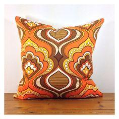 Handmade Cushion Cover 60s 70s Vintage Retro Fabric, Kitsch