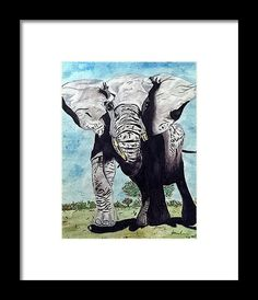Elephant Framed Print by Kelly Goss. All framed prints are professionally printed, framed, assembled, and shipped within 3 - 4 business days and delivered ready-to-hang on your wall. Choose from multiple print sizes and hundreds of frame and mat options. Wall Art For Sale, Wild Dogs, African Elephant, Wildlife Art, Watercolour Painting, Spice Things Up, Special Gifts, Pet Dogs, Moose Art