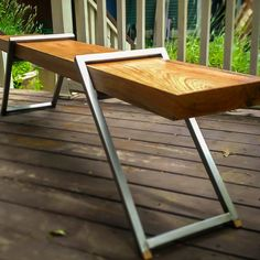 Modern Industrial Furniture, Wood Furniture, Outdoor Furniture, Outdoor Decor, Fire Pit Chairs, Coffee Table Bench, Home Projects, Legs, Design
