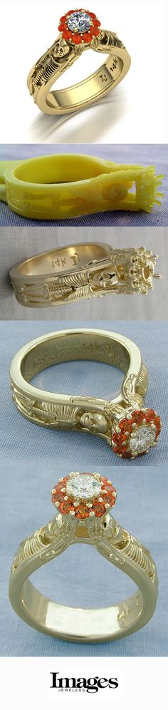 From start to finish, the making of a custom yellow gold diamond skeleton engagement ring with an orange imperial topaz halo. -Images Jewelers