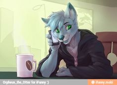Male anthro talking on the phone