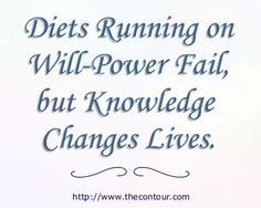 Diets Running on Will-Power Fail, but Knowledge Changes Lives. This article will help.