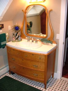 images of old dressers converted to vanities | Antique Dresser to Vanity Conversion