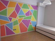 New kids room Playroom Paint, Geometric Wall Paint, Room Wall Painting, Bedroom Wall Designs, House Plants Decor, Room Decor, Wall Decor, Wall Drawing, Mosaic Wall