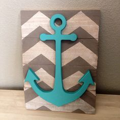 Lovin the anchor & my fave color !! Chevron anchor wall decor by CrossYourMindDesigns on Etsy, $20.00