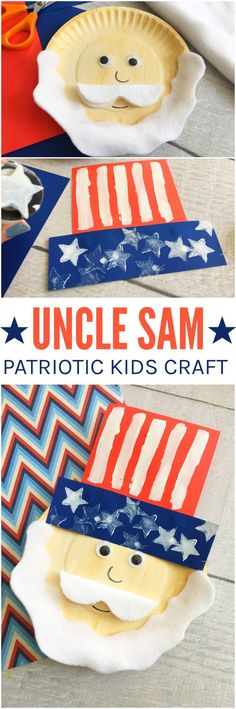 Uncle Sam Paper Plate Craft! Love this charming patriotic paper plate craft for kids to make! A great activity for kids at 4th of July and Memorial Day!