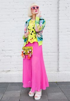 Long Pink Skirt, Pink Maxi, Neon Outfits, Tracksuit Jacket, Fancy Hats, Doll Head, Sporty Look, Alternative Fashion, Fascinator