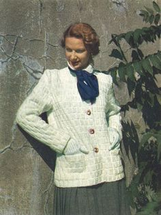 Snowy Cardigan • 1940s Knitting Knit Cardigan Sweater Jumper • 40s Vogue Vintage Pattern • Retro Women's Knit Digital PDF