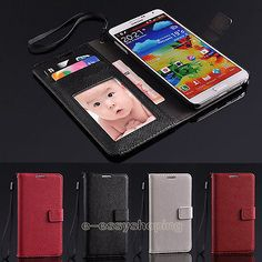 Luxury-Genuine-Leather-Wallet-Flip-Cover-Case-For-Samsung-Galaxy-Note3-III-N9000