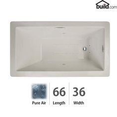 """View the Jacuzzi ELA6636ARL2XX Elara 66"""" x 36"""" Acrylic Air Bathtub for Drop-In Installations with Right Drain and Basic Controls at FaucetDirect.com."""