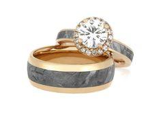 Unique Meteorite Wedding Ring Set 14k Rose Gold by jewelrybyjohan