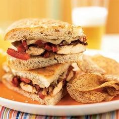 Balsamic-Glazed Chicken and Bell Pepper Sandwiches | MyRecipes.com