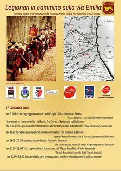 Legionari in cammino sulla via Emilia 17-18-19 giugno 2016, programma evento